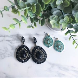2 Earrings! Black + Turquoise Bold Statement